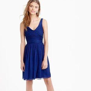 $228 J.Crew 100% Silk Chiffon Heidi Dress Blue